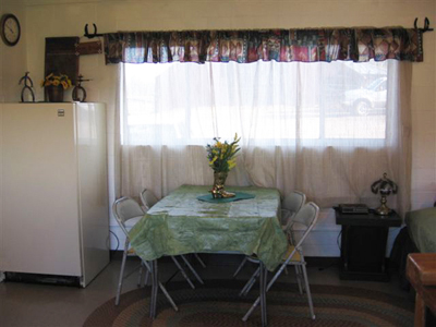 Dining table near a window in the bunkhouse