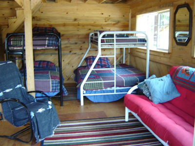 Peek into the sleeping area with the bunkbeds