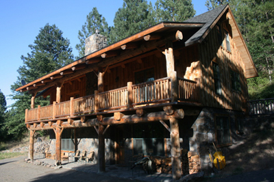 Side view of the White River Lodge including the front deck