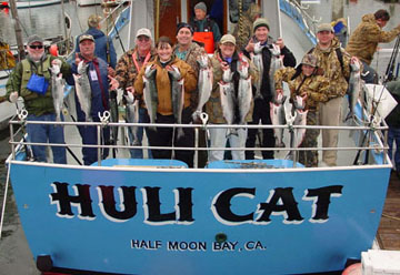 Salmon fishers with a beautiful haul on the Huli Cat